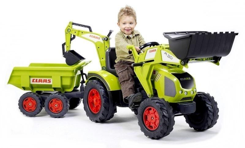 Трактор-экскаватор педальный с прицепом зеленый, 225 см., FALK 1010ZПедальные машины и трактора<br>Трактор-экскаватор педальный с прицепом зеленый, 225 см., FALK 1010Z<br>