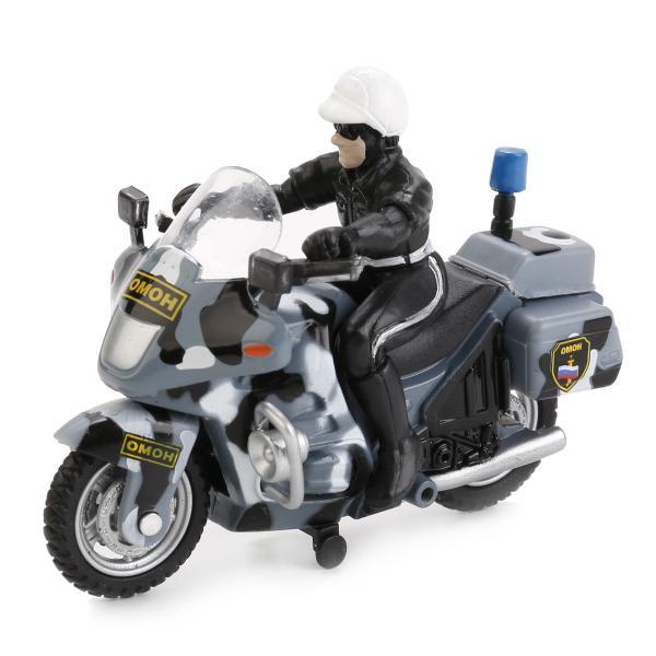 Купить со скидкой Металлическая инерционная модель – Мотоцикл ОМОН с фигуркой