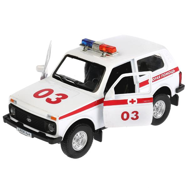 Купить Машина металлическая Lada 4x4 Скорая, длина 12 см., свет и звук, открываются двери, инерционная, Технопарк