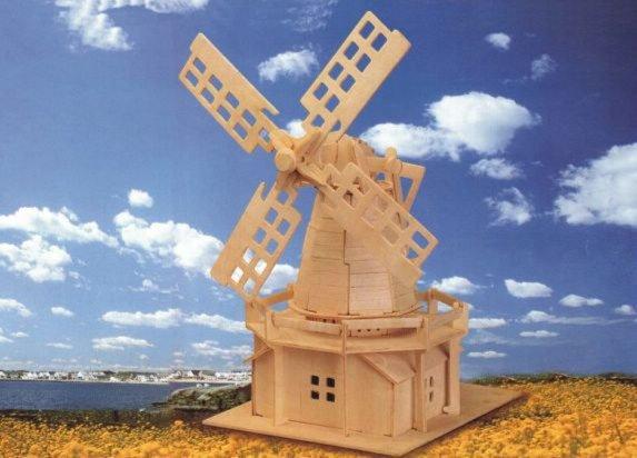 Сборная деревянная модель - Ветряная мельницаПазлы объёмные 3D<br>Сборная деревянная модель - Ветряная мельница<br>