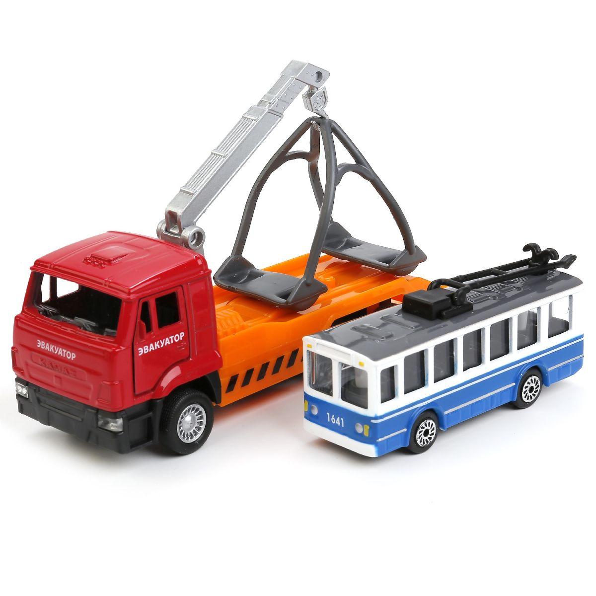 Купить Эвакуатор КамАЗ 12 см и троллейбус 7, 5 см, Технопарк
