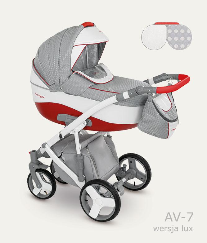 Детская коляска Camarelo Avenger Lux 2 в 1, красно-серая