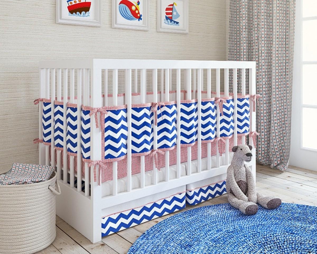 Купить Набор постельного белья для новорожденного – ZigZag, 5 предметов, navy, Shapito