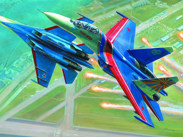 Модель для склеивания - Самолёт Су-27УБ Русские ВитязиМодели самолетов для склеивания<br>Модель для склеивания - Самолёт Су-27УБ Русские Витязи<br>