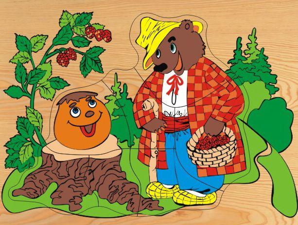 Деревянный пазл в рамке - Колобок и медведьРамки и паззлы<br>Деревянный пазл в рамке - Колобок и медведь<br>