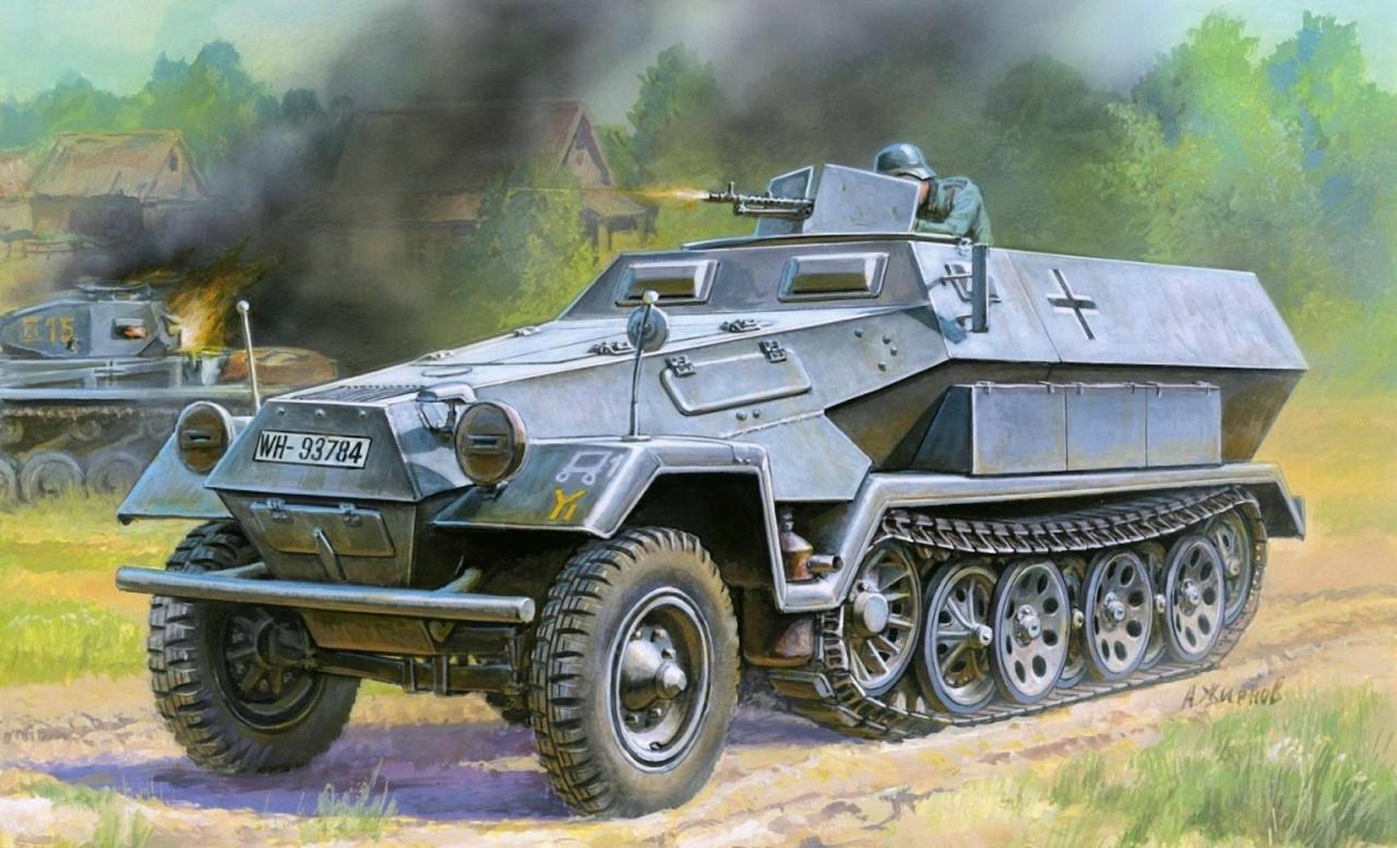 Модель для склеивания - Немецкий бронетранспортёр ХаномагМодели автомобилей для склеивания<br>Модель для склеивания - Немецкий бронетранспортёр Ханомаг<br>