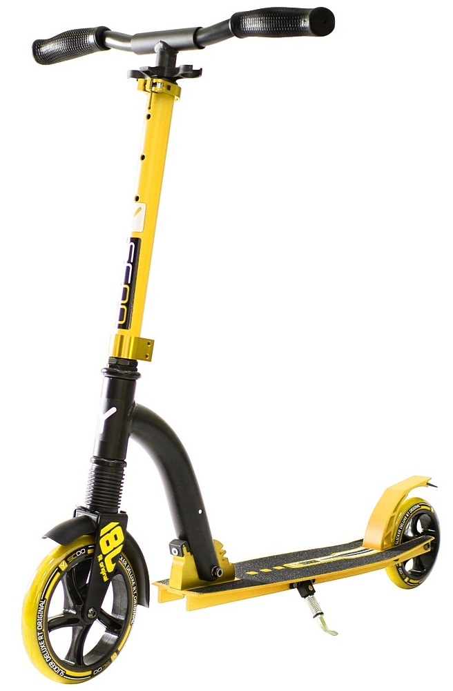 Двухколесный самокат Y-Scoo RT 180 Slicker с амортизатором Deluxe, желтый  - купить со скидкой