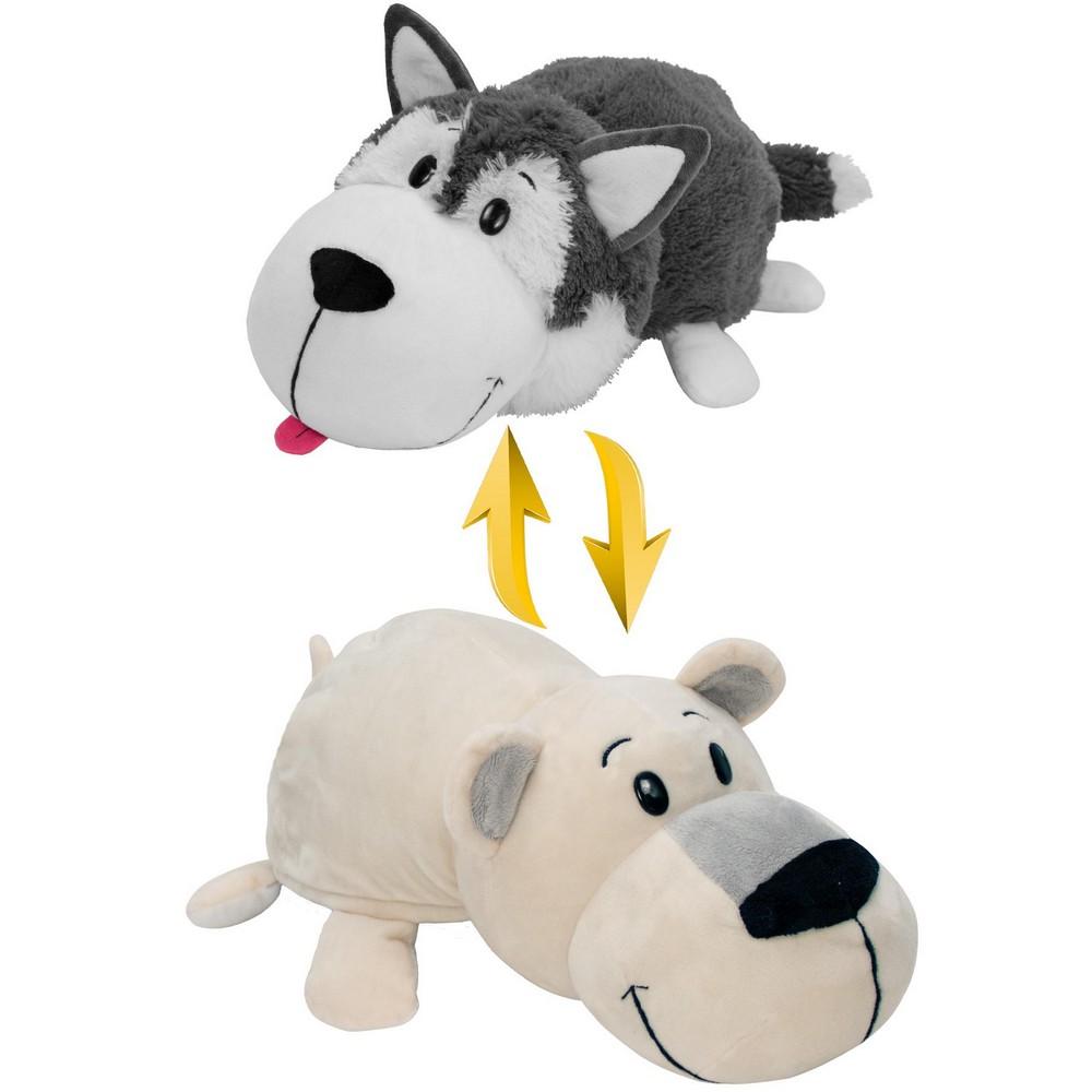 Купить Плюшевая игрушка Вывернушка 2 в 1, Хаски-Полярный медведь, 4 вида, 40 х 20 х 19 см., 1TOY