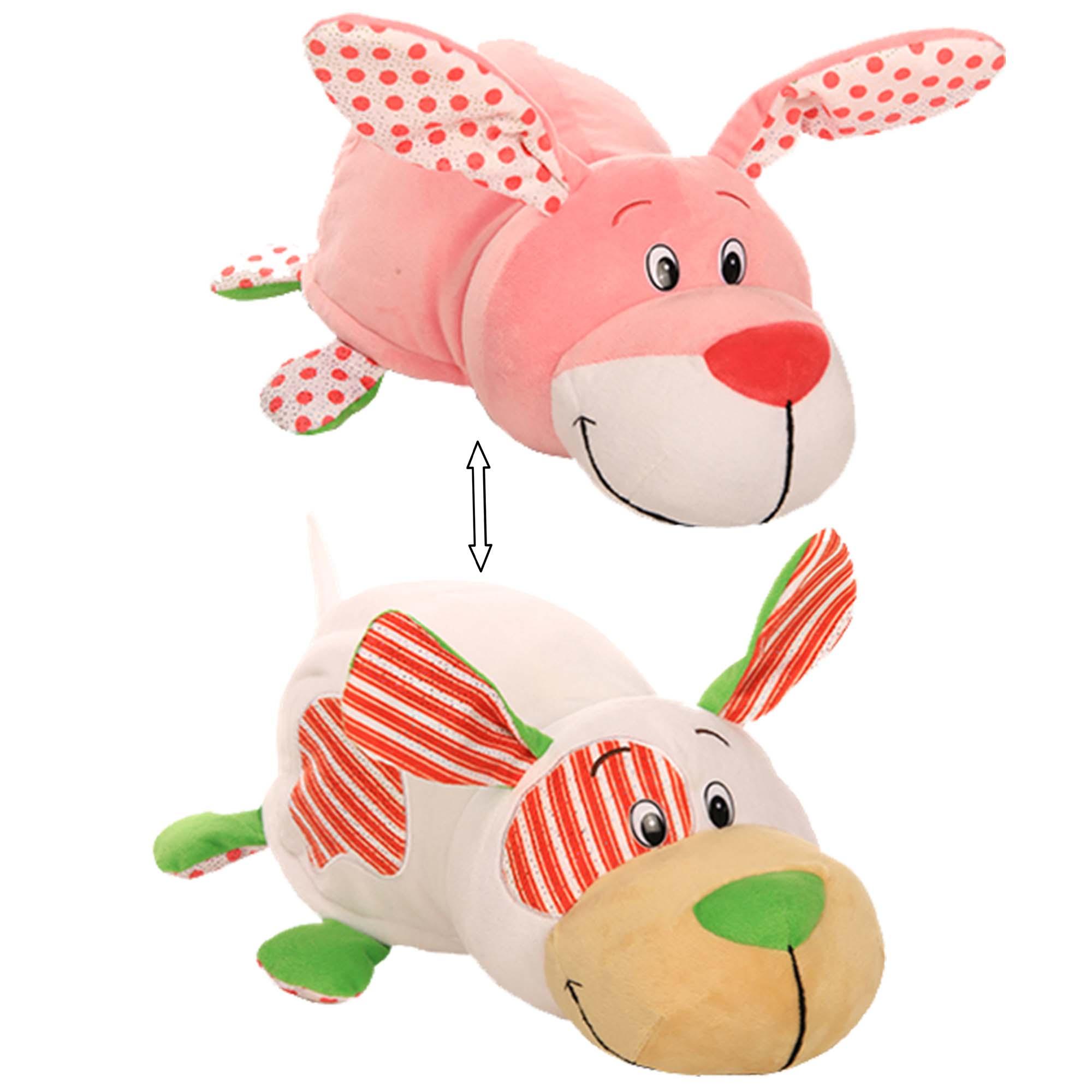 Купить Плюшевая игрушка Вывернушка Ням-Ням 2 в 1 – Щеночек с ароматом мятной жвачки-Зайчонок с ароматом фруктовой жвачки, 40 см, 1TOY