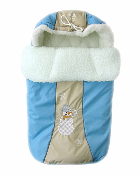 Конверт меховой Снежинка, голубой