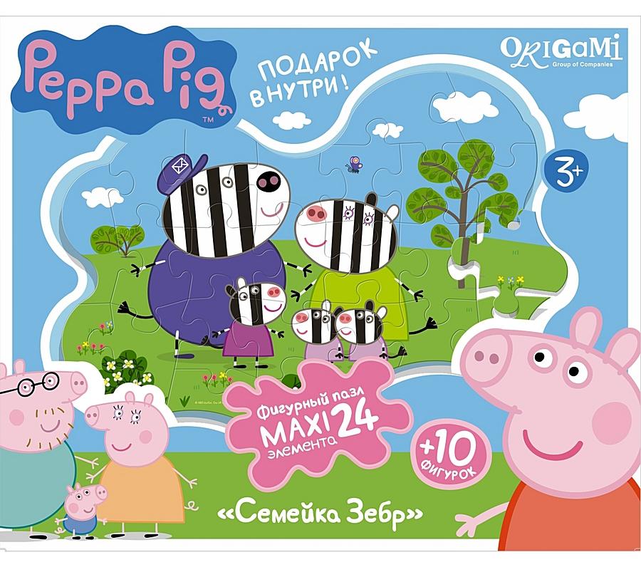 Контурный супер-макси пазл Peppa Pig - Семья Зебр, 24 элементаПазлы с Мульт Героями<br>Контурный супер-макси пазл Peppa Pig - Семья Зебр, 24 элемента<br>