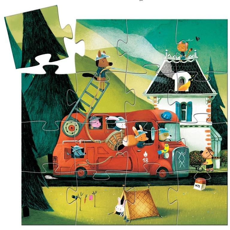 Купить Пазл - Пожарная машина, 16 деталей, Djeco
