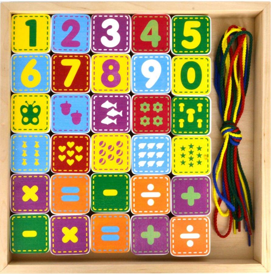 Конструктор деревянный - Шнуровочка с цифрами, 30 деталейШнуровка<br>Конструктор деревянный - Шнуровочка с цифрами, 30 деталей<br>