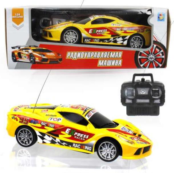 картинка Машина на радиоуправлении Спортавто, 1:24, 20 см, свет, желтая от магазина Bebikam.ru