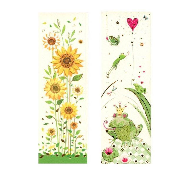 Закладки с дизайном Подсолнухи и Лягушка в короне