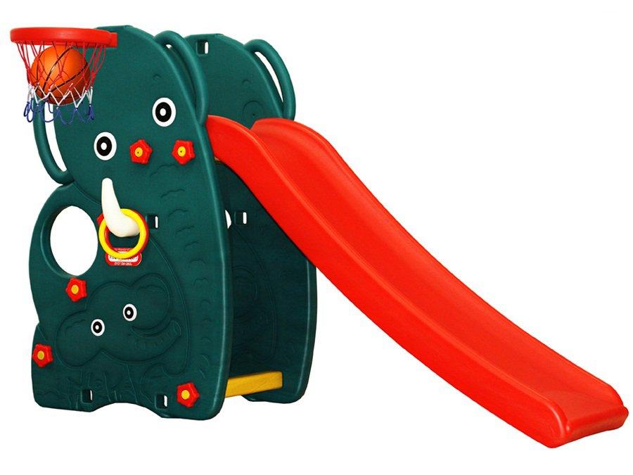Горка Слон с баскетбольным кольцомДетские игровые горки<br>Горка Слон с баскетбольным кольцом<br>
