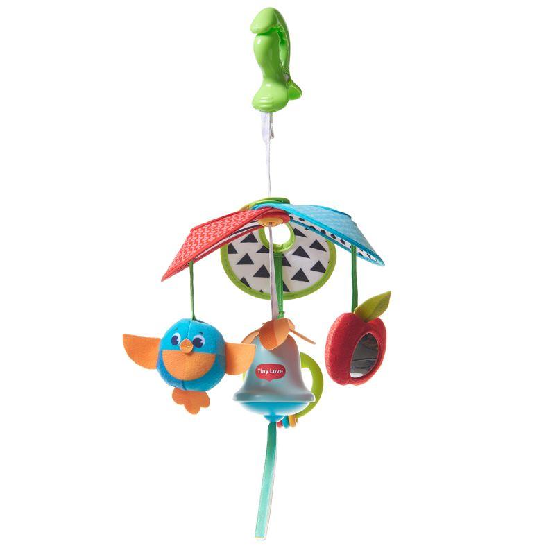 Механический подвес на коляску - Солнечная полянка, с игрушками