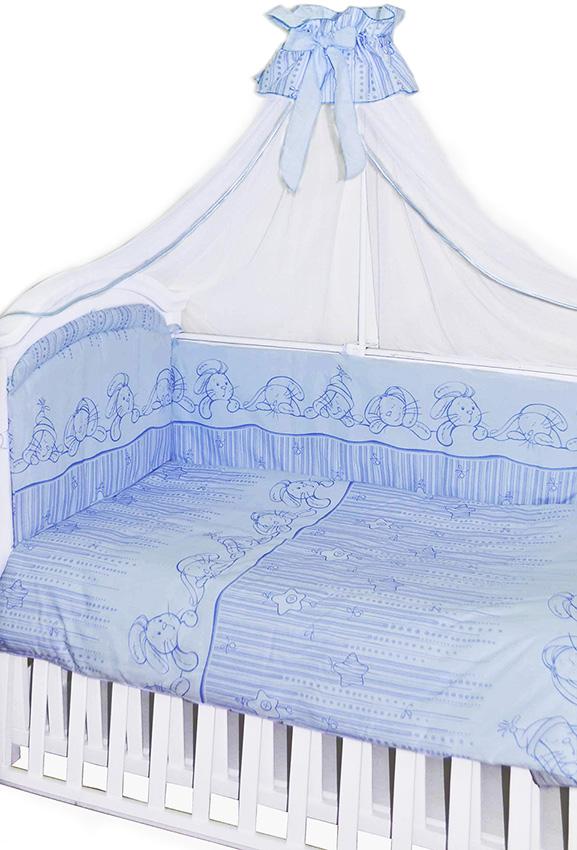 Комплект в кроватку 7 предметов - Зая-Зай, голубойДетское постельное белье<br>Комплект в кроватку 7 предметов - Зая-Зай, голубой<br>