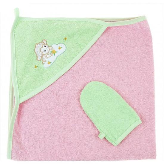 Пеленка-полотенце с варежкой – Веселые овечки, розовыйПолотенца и халаты<br>Пеленка-полотенце с варежкой – Веселые овечки, розовый<br>