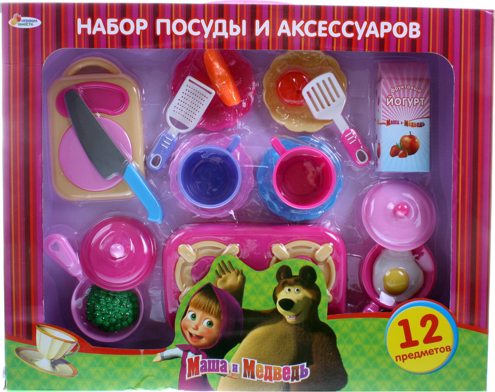 Набор посуды «Маша и медведь», 12 предметовАксессуары и техника для детской кухни<br>Набор посуды «Маша и медведь», 12 предметов<br>