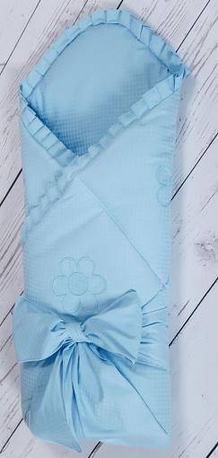 Конверт - одеяло на выписку из серии Ромашки, сезон весна, цвет голубойКомплекты на выписку<br>Конверт - одеяло на выписку из серии Ромашки, сезон весна, цвет голубой<br>