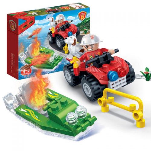 Конструктор - Пожарный джип, 62 деталиКонструкторы BANBAO<br>Конструктор - Пожарный джип, 62 детали<br>