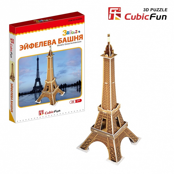 Купить 3D puzzles. Мини серия объёмного пазла – Франция Эйфелевая башня, Cubic Fun
