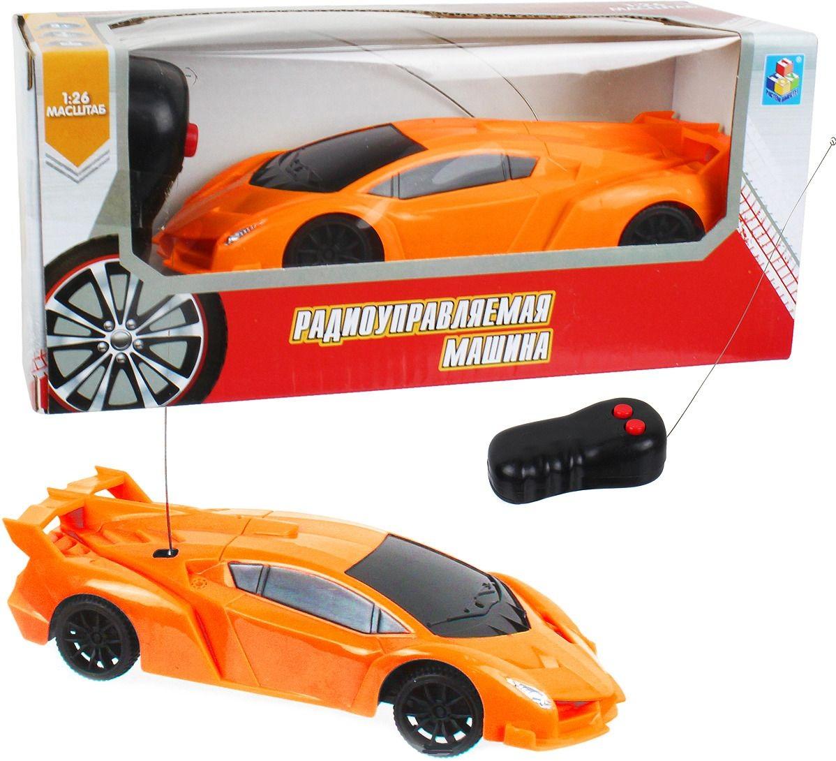 картинка Машина Спортавто на радиоуправлении, масштаб 1:26, 27 МГц, 17 см, 2 канала, оранжевая от магазина Bebikam.ru