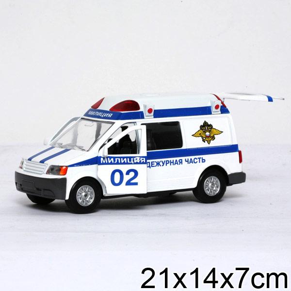 Инерционная машина металлическая Микроавтобус «Милиция» свет, звук 1:43 )Полицейские машины<br>Инерционная машина металлическая Микроавтобус «Милиция» свет, звук 1:43 )<br>