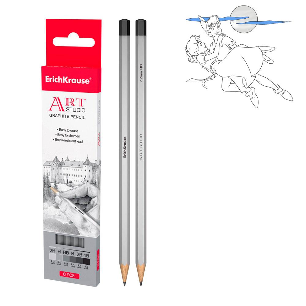 Набор чернографитных карандашей Art Studio, 6 штукКарандаши<br>Набор чернографитных карандашей Art Studio, 6 штук<br>