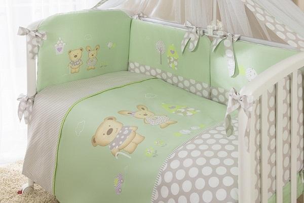 Комплект постельного белья - Венеция, зеленыйДетское постельное белье<br>Комплект постельного белья - Венеция, зеленый<br>