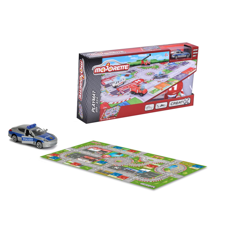 Игровой коврик  Creatix, SOS серии, нескользящий, 96 х 51см и 1 машинка - Детские парковки и гаражи, артикул: 163754