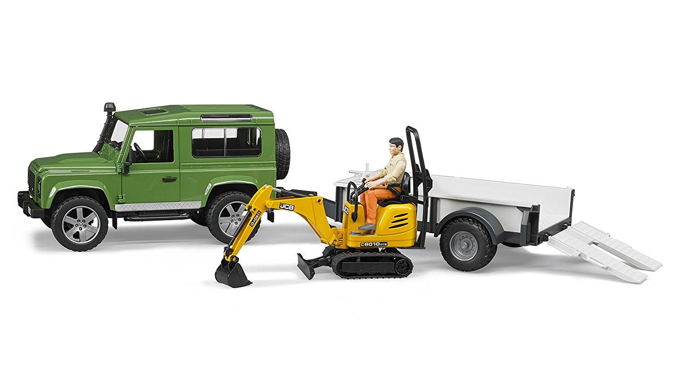 Джип с прицепом Bruder Land Rover Defender, мини экскаватор 8010 JCB, фигурка рабочего по цене 4 941