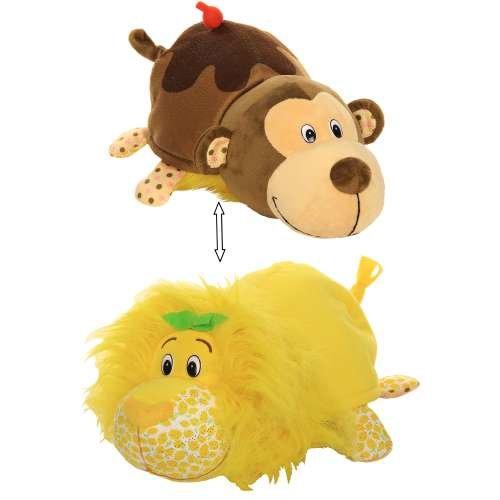 Плюшевая игрушка из серии Вывернушка Ням-Ням 2-в-1 Лев с ароматом лимона-Мартышка с ароматом шоколадного молочного коктейля, 35 см. фото
