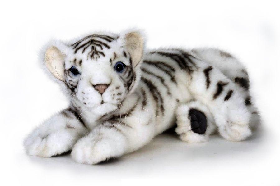 Мягкая игрушка - Белый тигренок лежащий, 26 см.Дикие животные<br>Мягкая игрушка - Белый тигренок лежащий, 26 см.<br>