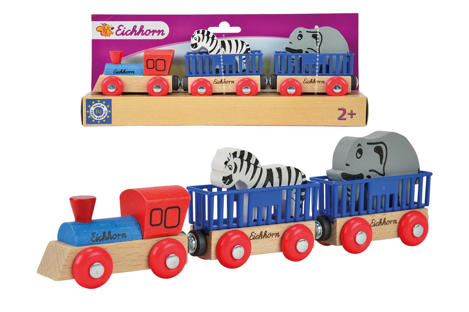 Игровой набор  Поезд с 2 вагонами и животными - Железная дорога для малышей, артикул: 113258