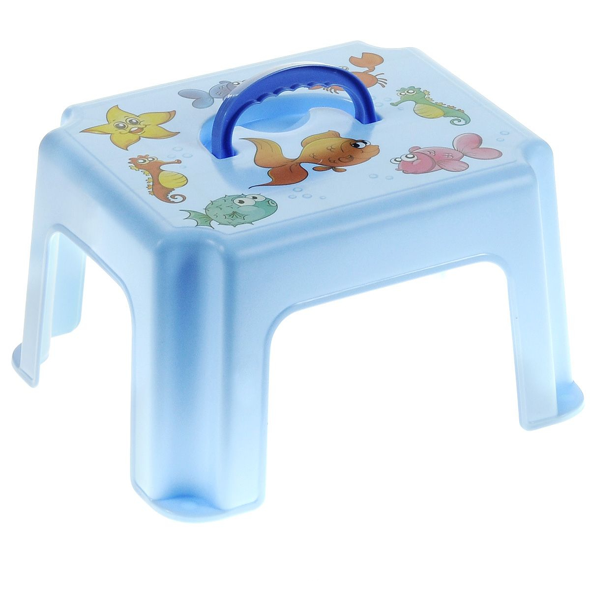Табурет-подставка - Рыбки с ручкой, голубой