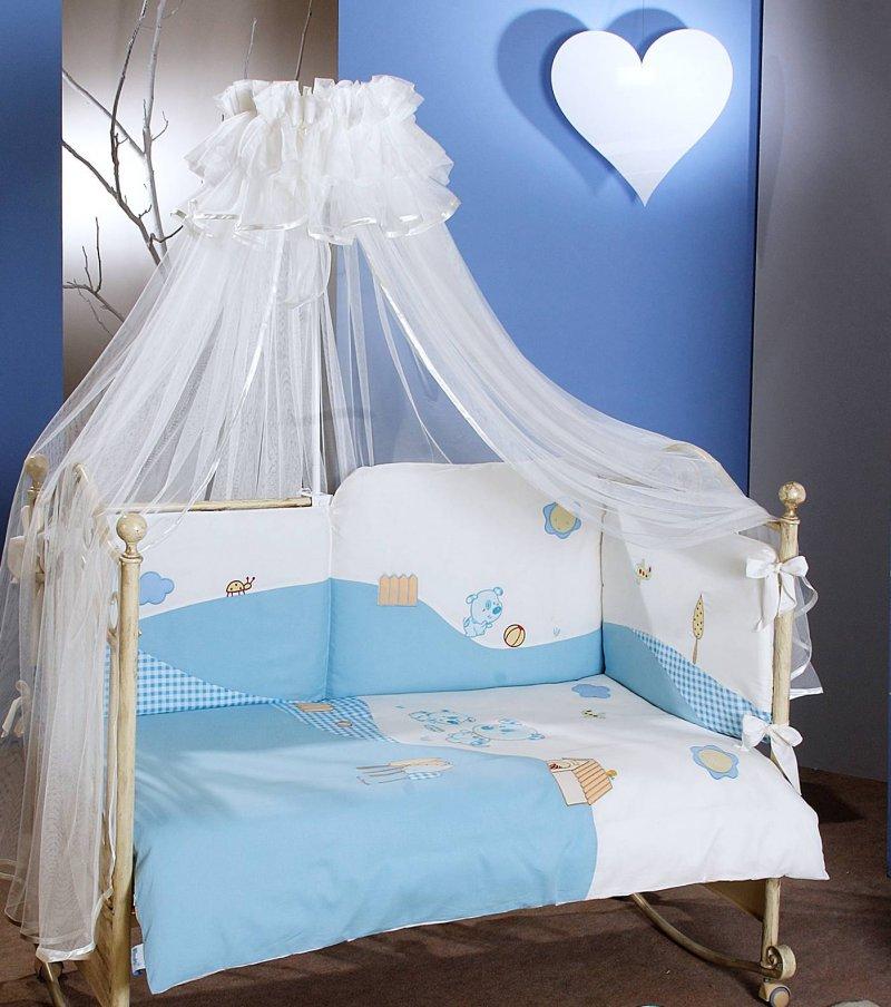 Комплект постельного белья Dogs, 6 предметов, голубойДетское постельное белье<br>Комплект постельного белья Dogs, 6 предметов, голубой<br>