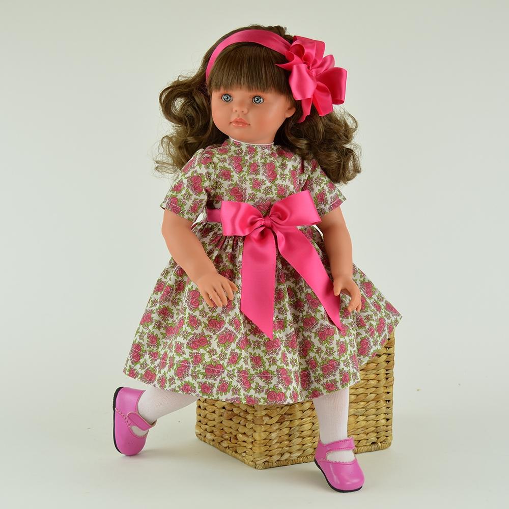 Коллекционная кукла Пепа, 60см, в платье с цветами и розовым бантомКуклы ASI (Испания)<br>Коллекционная кукла Пепа, 60см в платье с цветами и розовым бантом.<br>