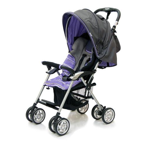 Коляска прогулочная Elegant, Dark Grey/Purple, полоскаДетские коляски Capella Jetem, Baby Care<br>Коляска прогулочная Elegant, Dark Grey/Purple, полоска<br>