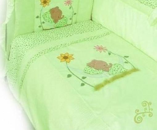 Комплект в кроватку – Сладкий сон, 7 предметов, зеленыйДетское постельное белье<br>Комплект в кроватку – Сладкий сон, 7 предметов, зеленый<br>