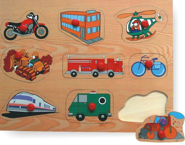 Купить Деревянный пазл в рамке - Транспорт 2, Wooden Toys