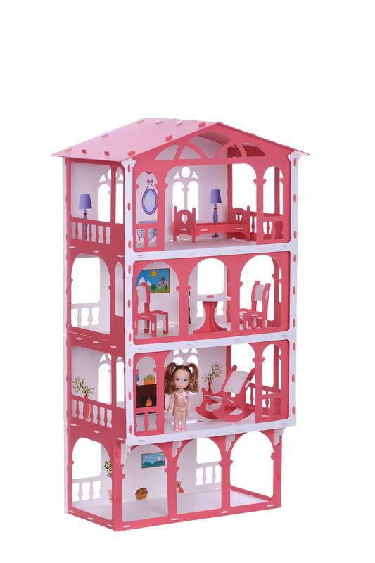 Домик с мебелью для кукол - Елена, бело-красный