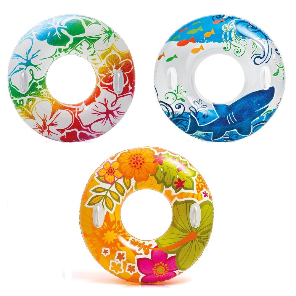 Круг надувной с ручками – Прозрачный, диаметр 97 смНадувные животные, круги и матрацы<br>Круг надувной с ручками – Прозрачный, диаметр 97 см<br>