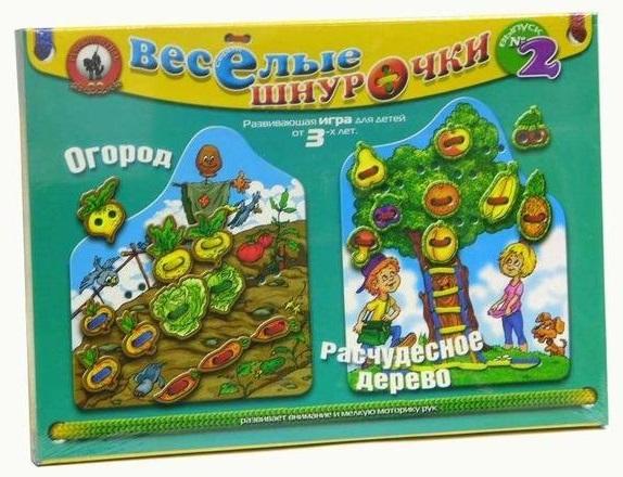 Игра развивающая. Веселые шнурочки-2. Огород и расчудесное деревоРазвивающие<br>Игра развивающая. Веселые шнурочки-2. Огород и расчудесное дерево<br>