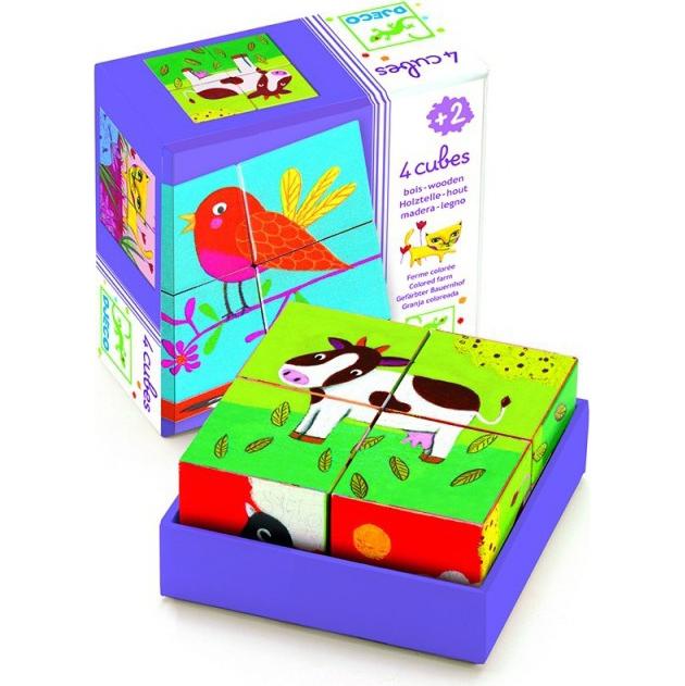 Кубики - Ферма, 4 штуки, Djeco  - купить со скидкой