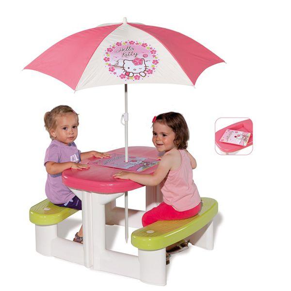 Столик для пикника с зонтиком из серии Hello KittyИгровые столы и стулья<br>Столик для пикника с зонтиком из серии Hello Kitty<br>