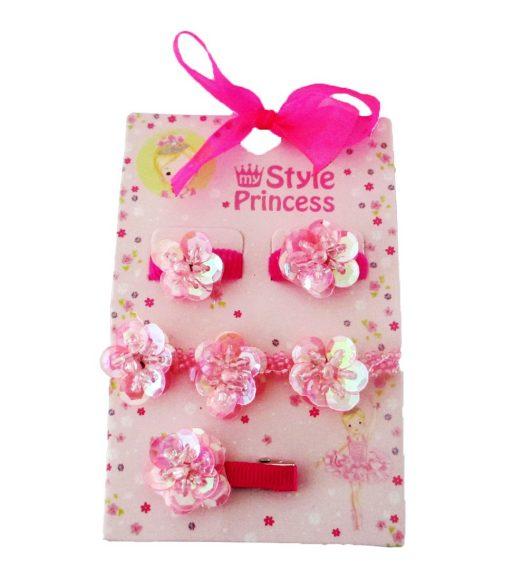 Набор – Роза, 2 резинки, браслет и заколкаЗаколки<br>Набор – Роза, 2 резинки, браслет и заколка<br>