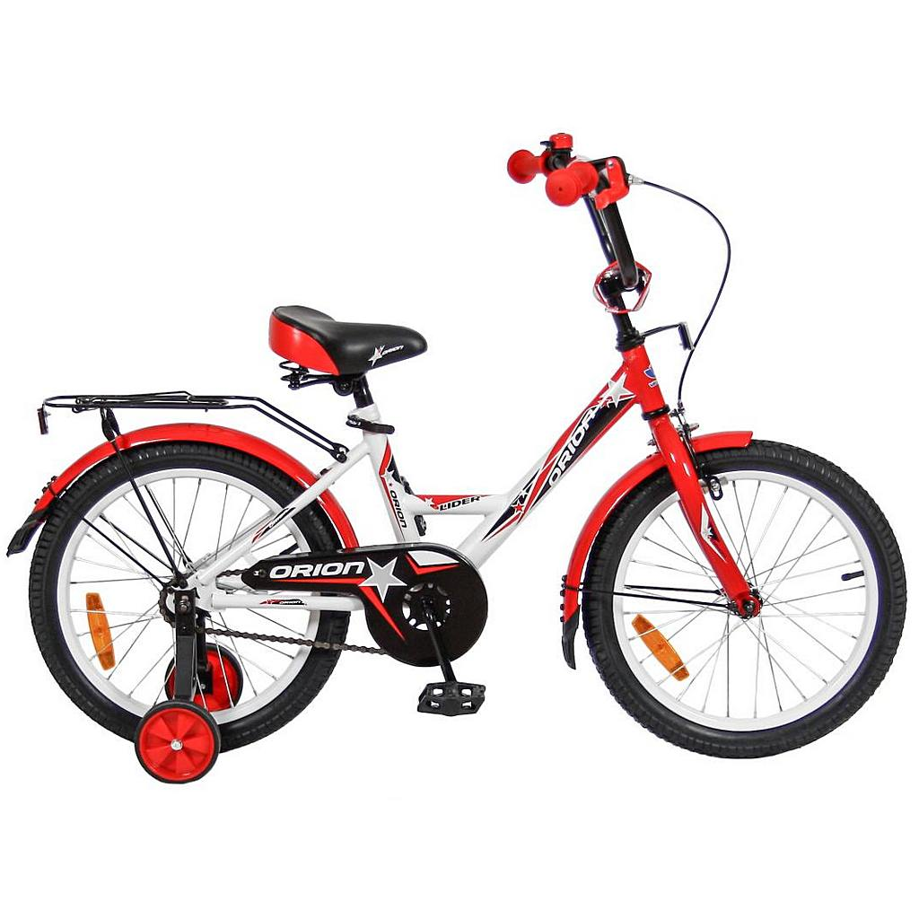 Двухколесный велосипед Lider Orion диаметр колес 18 дюймов, белый/красный