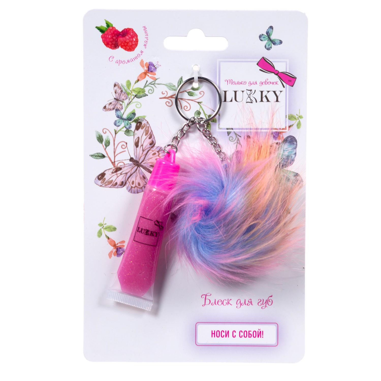 Lukky блеск для губ с блестками, розовый, с ароматом малины, 6 мл, с плюшевым брелоком фото